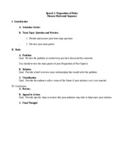 STRC 1111 Speech 5 Proposition of Policy (Monroe) Outline Format