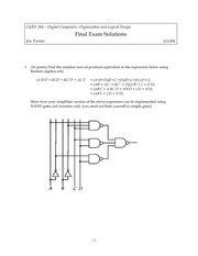 Final Exam Solution Spring 2004 on Introduction to Digital Logic and Computer Design