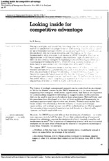 looking inside the competitive advantage