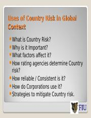 L 3 Module F Country Risk Assessment and Entry