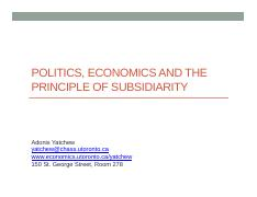 4 Politics, Economics and the Principle of Subsidiarity