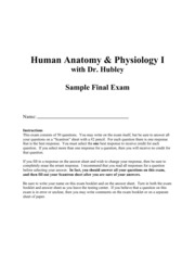 Anatomy and Phys. Final exam