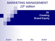 (Topic 6 IUB) Chapter 10 Creating Brand Equity Marketing Management Spring 2011.ppt