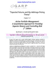 3.Expected Returns and the Arbitrage Pricing Theory