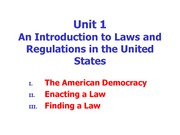 Unit 1. Introduction to U.S. Laws