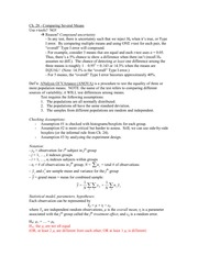 Stat 141 Comparing Several Means notes