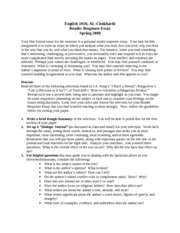 Reading Response Journal Rubric