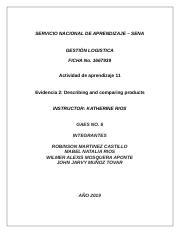 Evidencia 2 Describing And Comparing Products Docx