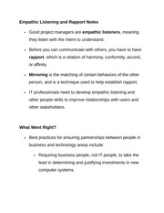 Empathic Listening and Rapport Notes