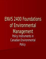 ENVS 2400 2014 Lecture 9 - Substantive Policy Instruments(1)