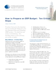 How to prepare a budget for an ERP project