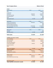 comparitive balance sheet Example