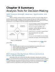 Chapter 8 Tool Summary - Analysis Tools for Decision-Making.docx
