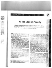 At the Edge of Poverty