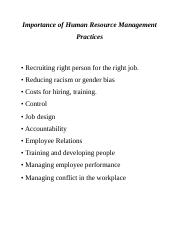 Importance of Human Resource Management Practices.docx