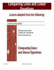 Comparing Lines and Linear Equations Presentation.ppt