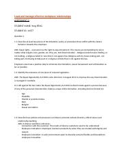 Lead and Manage effective workplace relationships assignment 2.docx