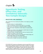 Chapter 9  Hypothesis Testing, Effect Size, and Confidence Intervals; Two-Sample Designs