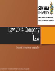 Lecture 1 -  Company Law Introduction.pptx