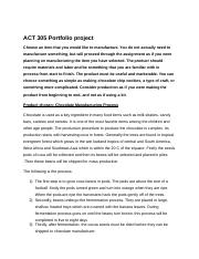ACT 305 Portfolio project The product should require materials and labor and be something that you a