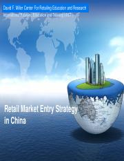 Module 3 Retail Market Entry Strategy in China