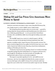 Sliding Oil and Gas Prices Give Americans More Money to Spend - NYTimes