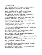 Statistical Issues and Methods in Metrology1