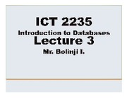 ICT2235 Lecture 3