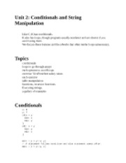 Conditionals and String Manipulation notes