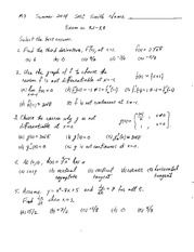 Exam 2 Solution Summer 2014 on Calculus 1