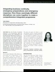 Integrating business continuity, emergency preparedness and emergency response_ How these seemingly