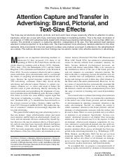 Pieters. Wedel. Attention capute and transfer in advertising, brand, pictorial, and textsize effects
