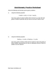 ... Stoichiometry Practice WorksheetSolve the following stoichiometry