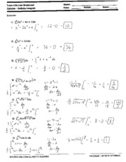 U substitution with definite integrals worksheet - Tutor-USA.com ...