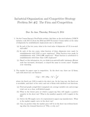 industrial organization problem set Industrial organization fall 2011 mattt shum  move that should be taken in response to a set of strategies played by the  the cournot problem is.