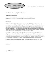 Team Letter to Parent