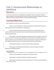 Unit 5- Interpersonal Relationships in Adulthood .docx