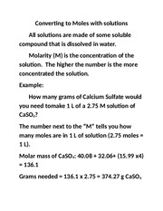 converting to moles with solutions notes