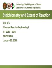 ChE 125 1.02 Stoichiometry and Extent of Reaction