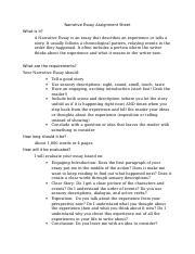 narrative essay assignment sheetdoc   personal narrative   pages narrative essay assignment sheet