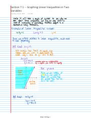 Lecture Notes -- Section 7.1 -- Graphing Linear Inequalities in Two Variables