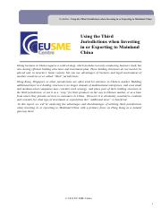eu_sme_centre_guideline_using_the_third_jurisdictions_when_investing_in_or_exporting_to_mainland_chi
