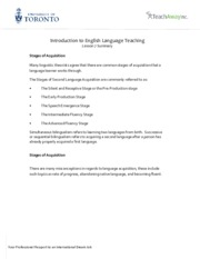 Intro to English Language Teaching - Lesson 7 Summary
