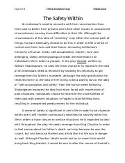 Thesis Statement Narrative Essay Critical Essay For Hamlet  Novemeber  Page  Of  Critical Analytical  Essay Malika Sood The Safety Within An Individuals Need To Reconcile With Fifth Business Essay also English Essay Examples Critical Essay For Hamlet  Novemeber  Page  Of  Critical  Healthy Mind In A Healthy Body Essay