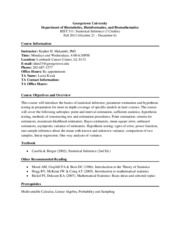 Syllabus - BIST 511 Statistical Inference 2013