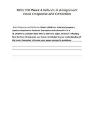 RDG 350 Week 4 Individual Assignment Book Response and Reflection