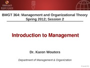 BMGT 364 Session 2 - Introduction to Management - Handouts