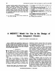 curtis A MESFET Model for Use in the Design of
