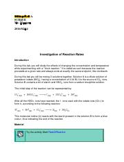 A Study of Reaction Rates