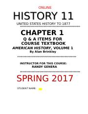 HIST 11 ONLINE CHAPT 1  Q AND A ASSIGNMENT- SPRING 2017